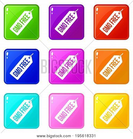 GMO free price tag icons of 9 color set isolated vector illustration
