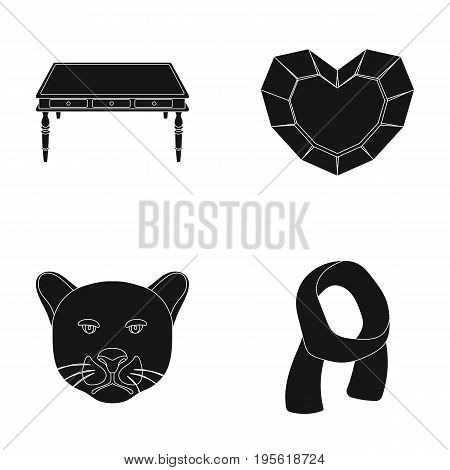 Furniture, animal and other  icon in black style. mining, clothes icons in set collection.