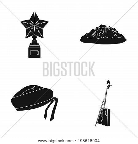 music, travel and other  icon in black style. film award, clothing icons in set collection.