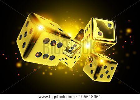 Golden Dice Casino Game 3D Rendered Concept Illustration. Vegas Craps.