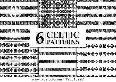Celtic knot seamless black and white pattern set. Six ethnic abstract backgrounds.