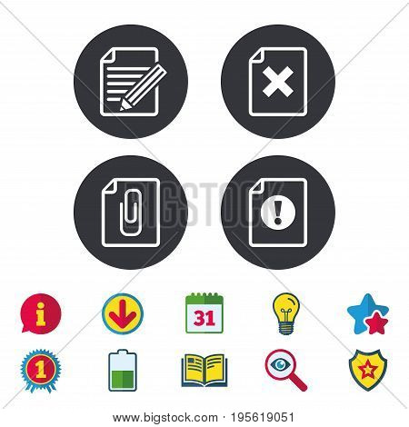 File attention icons. Document delete and pencil edit symbols. Paper clip attach sign. Calendar, Information and Download signs. Stars, Award and Book icons. Light bulb, Shield and Search. Vector