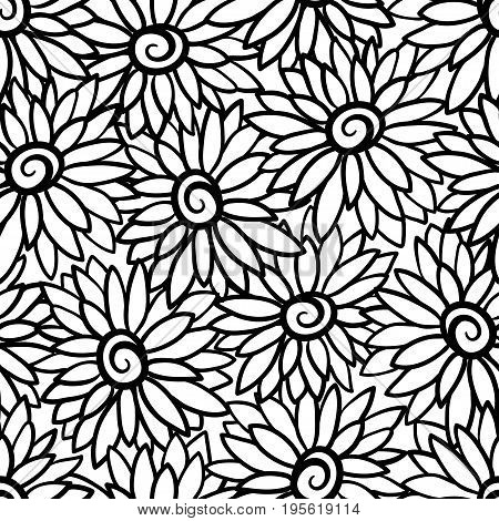 Floral background with stylized blooming chrysanthemum, asters. Vector seamless pattern with flowers.