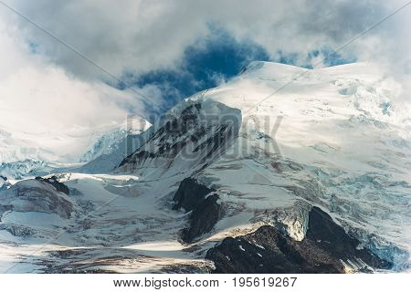 Massive Mountain Glaciers. Mont Blanc Massif. French Alps. Chamonix France.