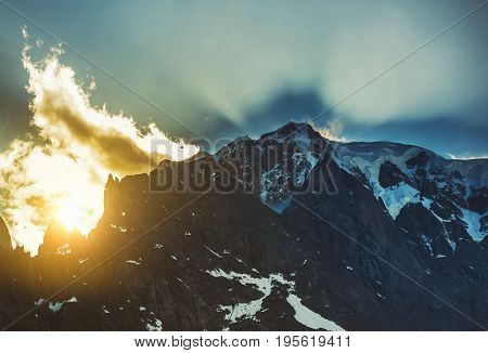 Scenic Snowy Mountain Summit During Summer Sunset. Mont Blanc Massif Entreve Italy.