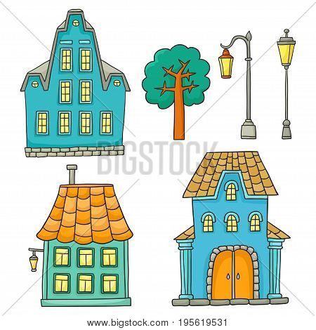 Set with different houses. Vector sketches houses and other architectural elements