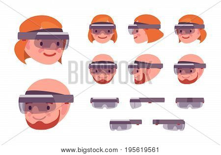 AR headset glasses device. Virtual reality smart glasses, sound, camera for interactive computer gaming. Vector flat style cartoon illustration, isolated, white background