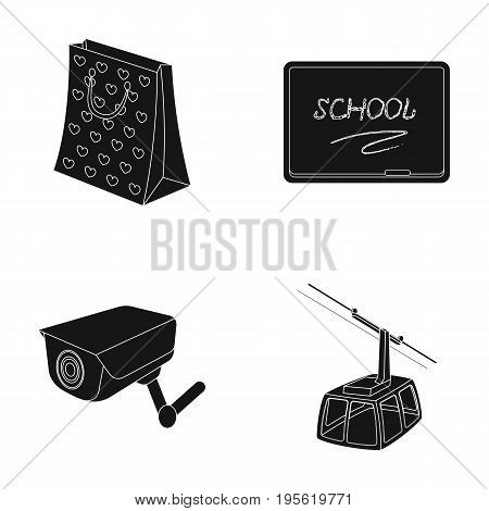 transportation, shopping and other  icon in black style.search, training icons in set collection.