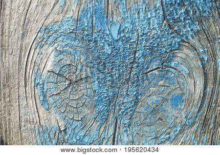 The texture is an old blue paint on the wood. The paint has disappeared the wood is visible