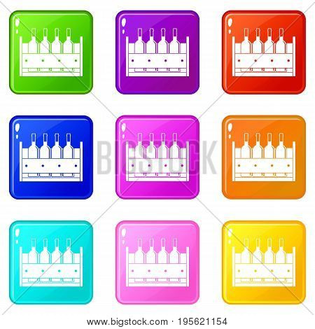 Four bottles of wine in a wooden box icons of 9 color set isolated vector illustration