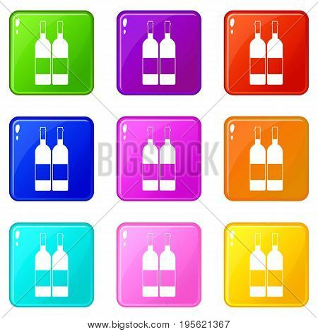 Two bottles of wine icons of 9 color set isolated vector illustration