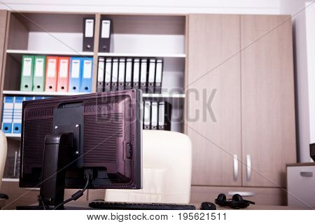 Empty office room with computers and desks. Modern interior design