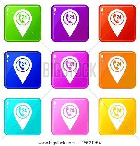 Map pointer with phone handset sign icons of 9 color set isolated vector illustration