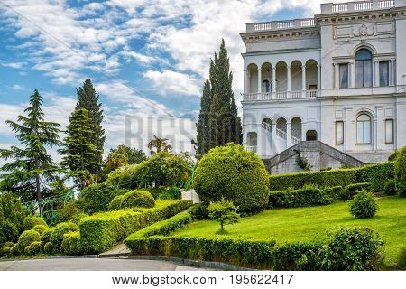 Yalta, Russia - May 17, 2016: Livadia Palace in Crimea. Livadia Palace was a summer retreat of the last Russian tsar Nicholas II. The Yalta Conference was held there in 1945.