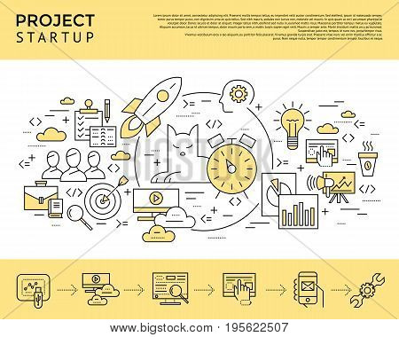 Digital vector yellow startup business icons with drawn simple line art info graphic, presentation with project and team elements around promo template, flat style