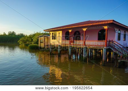 View of floating houses of water village in Weston,Beaufort,Sabah,Borneo,Malaysia.The population of Weston fishing village is composed mainly of Brunei Malays,Bisaya & Chinese.