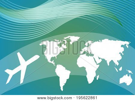 Air travelling vector photo free trial bigstock air travelling background with stylized world map and silhouette of an airplane on blue and green gumiabroncs Images