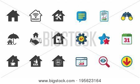 Real estate icons. House insurance, broker and casino with bar signs. Handshake deal, coffee and smart house symbols. Calendar, Report and Download signs. Stars, Service and Search icons. Vector