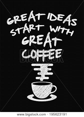 Quote Coffee Poster. Great Ideas Start With Great Coffee  Chalk Calligraphy Style. Shop Promotion Mo