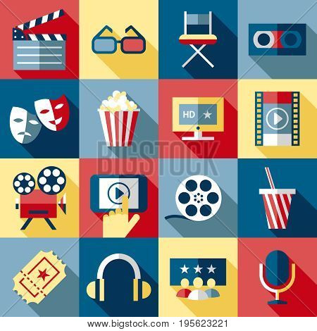 Digital vector red blue 16 cinema icons with drawn simple line art info graphic, presentation with screen, movie and film elements around promo template, flat style