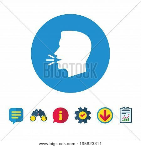 Talk or speak icon. Loud noise symbol. Human talking sign. Information, Report and Speech bubble signs. Binoculars, Service and Download icons. Vector