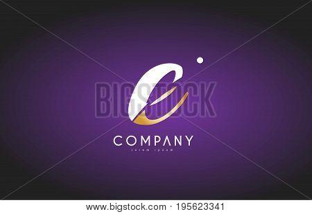 E Alphabet Letter Gold Golden Logo Icon Design
