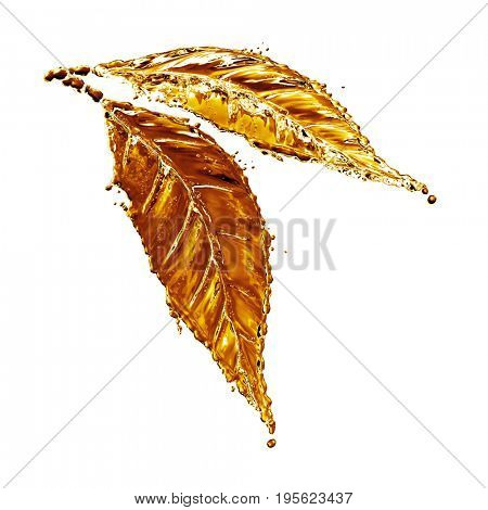 3D detailed illustration of a drop of water gold color. White background