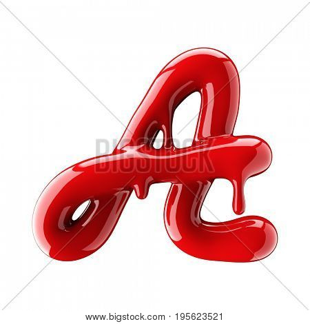 Leaky red alphabet isolated on white background. Handwritten cursive letter A. 3d rendering