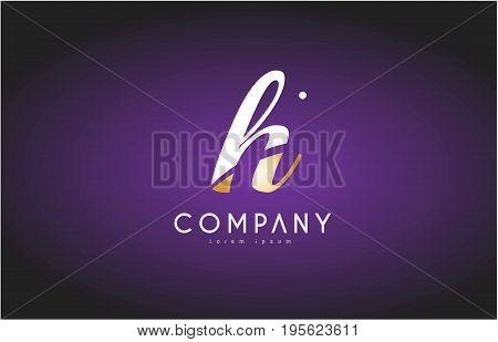 H Alphabet Letter Gold Golden Logo Icon Design