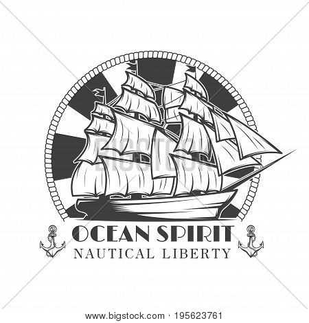 Sailor naval vector vintage label, badge, or emblem in monochrome style with ship and anchor. Ocean Spirit