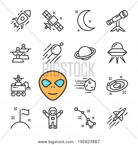 Vector black line Space icons set on white background