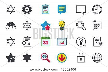 Star of David sign icons. Symbol of Israel. Chat, Report and Calendar signs. Stars, Statistics and Download icons. Question, Clock and Globe. Vector