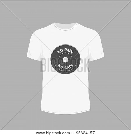Men's white t-shirt with short sleeve in front views. Design for T-shirts. gym fitness theme.