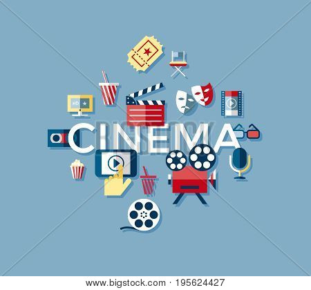 Digital vector blue cinema icons with drawn simple line art info graphic, presentation with screen, movie and old camera elements around promo template, flat style