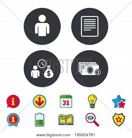 Bank loans icons. Cash money bag symbol. Apply for credit sign. Fill document and get cash money. Calendar, Information and Download signs. Stars, Award and Book icons. Light bulb, Shield and Search