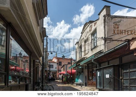 SKOPJE, REPUBLIC OF MACEDONIA - 13 MAY 2017: Typical street in old town of city of Skopje, Republic of Macedonia