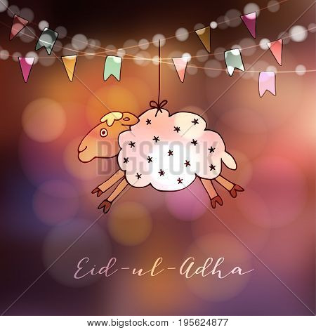 Eid-ul-adha greeting card with hand drawn sheep and party flags. Muslim community festival of sacrifice, modern blurred background with bokeh lights.