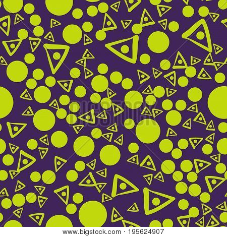 Green Seamless pattern with triangles and connected spots on a background. Vector repeating texture.