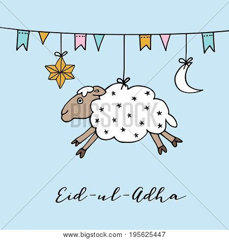 Eid-ul-adha greeting card with hand drawn sheep, moon, star and flags. Muslim community festival of sacrifice, vector illustration background.