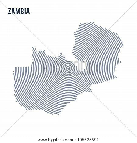 Vector Abstract Hatched Map Of Zambia With Spiral Lines Isolated On A White Background.
