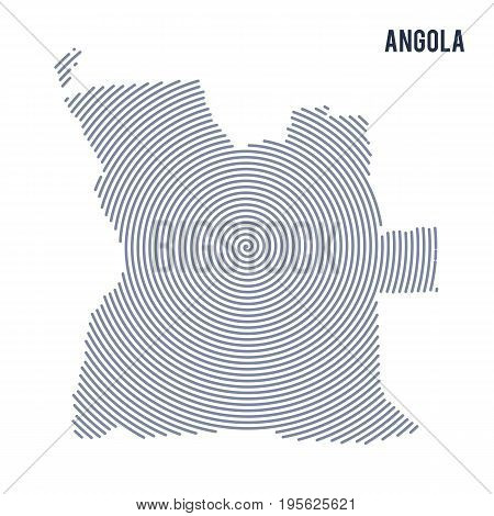 Vector Abstract Hatched Map Of Angola With Spiral Lines Isolated On A White Background.