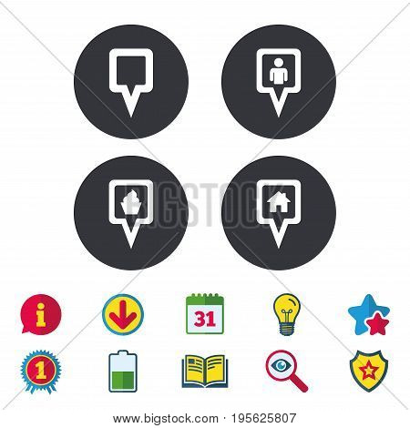 Map square pointer icons. Home, food and user location symbols. Restaurant and cupcake signs. You are here. Calendar, Information and Download signs. Stars, Award and Book icons. Vector