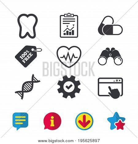 Maternity icons. Pills, tooth, DNA and heart cardiogram signs. Heartbeat symbol. Deoxyribonucleic acid. Dental care. Browser window, Report and Service signs. Vector
