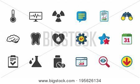 Medicine, medical health and diagnosis icons. Blood donate, thermometer and pills signs. Tooth, neurology symbols. Calendar, Report and Download signs. Stars, Service and Search icons. Vector