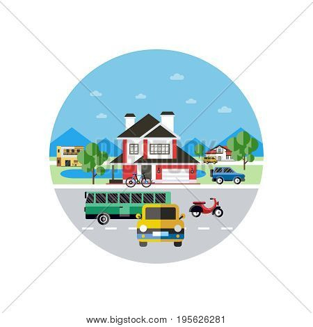 Digital vector blue city transport icons with drawn simple line art info graphic, presentation with car, bus and building elements around promo template, round frame, flat style