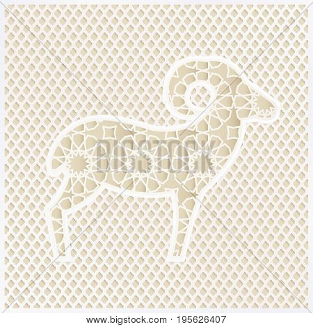 Greeting card with silhouette of ornamental sheep and traditional Arabian pattern, ector illustration background for Muslim Eid Ul Adha holiday of sacrifice.