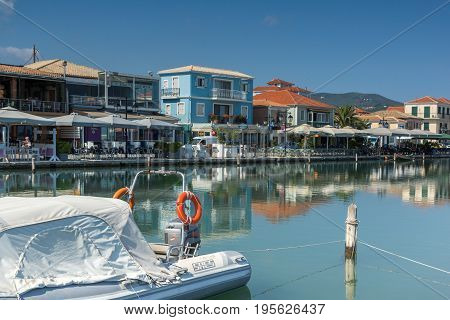 LEFKADA TOWN, GREECE - JULY 17, 2014: Panoramic view of embankment in Lefkada town, Ionian Islands, Greece