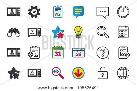 Microwave oven icons. Cook in electric stove symbols. Heat 5, 6, 7 and 8 minutes signs. Chat, Report and Calendar signs. Stars, Statistics and Download icons. Question, Clock and Globe. Vector