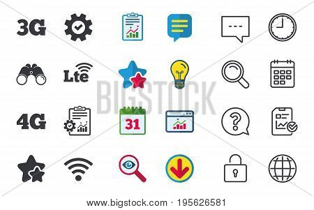 Mobile telecommunications icons. 3G, 4G and LTE technology symbols. Wi-fi Wireless and Long-Term evolution signs. Chat, Report and Calendar signs. Stars, Statistics and Download icons. Vector