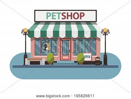 Veterinary pet shop for animals. Facade exterior view. Vector Illustration.